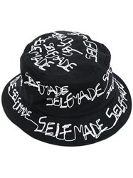 Selfmade By Gianfranco Villegas 'Embroidered' Bucket Hat Men Cotton One Size Black