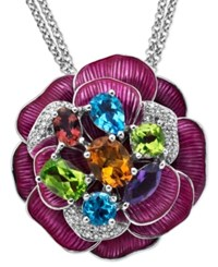 Town And Country Sterling Silver Necklace Diamond 1 5 Ct. T.W. And Multistone Flower Pendant