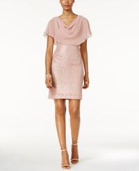 Jessica Howard Draped Capelet Lace Dress Rose Gold