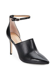 Halston Leather Point Toe D'orsay Pumps Black