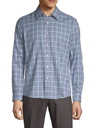 Hyden Yoo Plaid Cotton Button Down Shirt Blue Multi