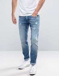 Replay Anbass Slim Fit Jean Ripped Light Wash 17B942r Blue