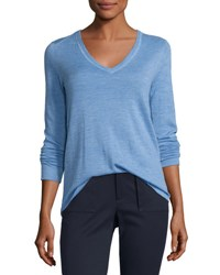 Atm Anthony Thomas Melillo Cashmere V Neck Sweater Blue Medium Blue