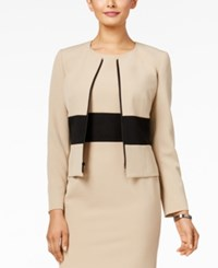 Kasper Petite Colorblocked Zip Front Blazer Latte Black