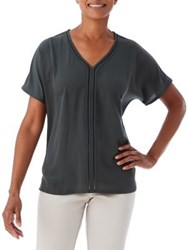 Olsen Solid Woven Front Tee Rain Forest