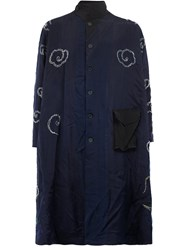 By Walid Contrast Floral Embroidery Coat Blue