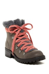 Madden Girl Bunt Faux Fur Cuff Lace Up Boot Gray
