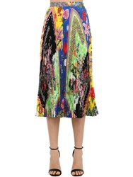 Versace Printed Silk Twill Midi Skirt W Pleats Multicolor