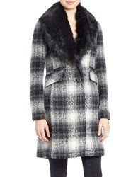 Laundry By Shelli Segal Shawl Collar Faux Fur Coat Black
