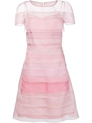 Carolina Herrera Sheer Stripe Dress Pink And Purple