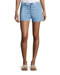 Rag And Bone Rbw18 Slim Fit High Rise Shorts Powder Blue Light Blue