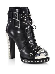 Alexander Mcqueen Studded Leather Lace Up Buckle Booties Black