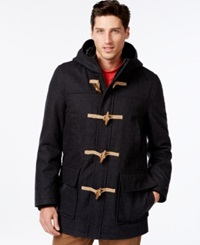 Tommy Hilfiger Wool Blend Melton Toggle Coat Charcoal