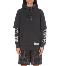 Aape By A Bathing Ape Double Layered Logo Print Jersey Hoody Dark Grey