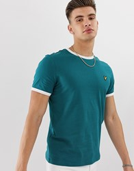 Lyle And Scott Logo Ringer T Shirt In Teal Green