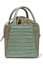 Trademark Dorthea Box Croc Effect Leather And Suede Tote Gray Green