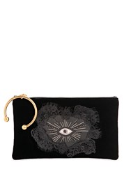 Red Valentino Velvet Clutch W Hand Patch And Eye Patch