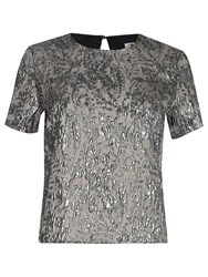 True Decadence Jacquard Short Sleeve Top Pewter
