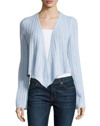 Minnie Rose Cashmere Cable Knit Open Cardigan Bleu Clair