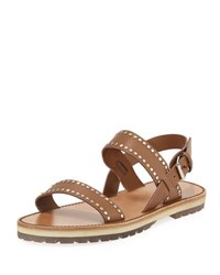 Valentino Men's Studded Buckle Strap Sandal Brown