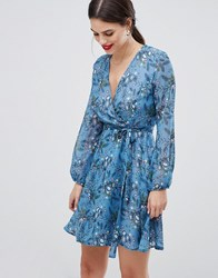 Zibi London Wrap Printed Long Sleeve Dress Blue