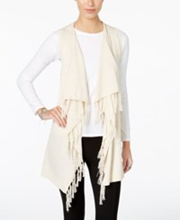 G.H. Bass And Co. Draped Fringe Vest Heather Parchment