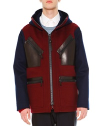 Valentino Two Tone Hooded Wool Coat Navy Burgundy