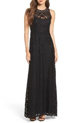 Vera Wang Women's Illusion Yoke Lace Maxi Dress Black