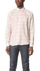 Schnayderman's Leisure Faded Large Check Shirt Light Red Light Blue White