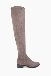 Forever 21 Over The Knee Faux Suede Boots Grey