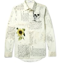 Alexander Mcqueen Slim Fit Printed Cotton Shirt Cream