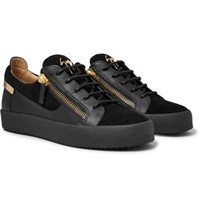 Giuseppe Zanotti Logoball Leather And Suede Sneakers Black