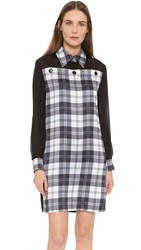 Edun Tartan Shirtdress Black White