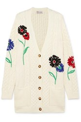 Red Valentino Redvalentino Embroidered Cable Knit Cotton Cardigan Ivory