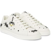 Fendi Embroidered Leather Sneakers White
