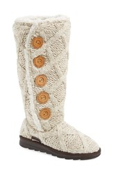 Women's Muk Luks 'Malena' Sweater Knit Boot Vanilla Fabric