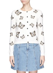 Alice Olivia 'Ruthy' Butterfly Embroidered Cardigan White