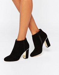 Lipsy Gold Detail Heeled Ankle Boots Black