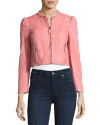 Rebecca Taylor Ruffle Collar Leather Moto Jacket Light Pink
