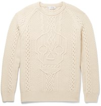 Alexander Mcqueen Cable Knit Wool And Cashmere Blend Sweater Neutrals