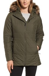 The North Face Women's Harway Heatseeker Tm Water Resistant Jacket With Faux Fur Trim New Taupe Green