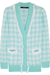 Sibling Ruffle Trimmed Checked Knitted Cardigan