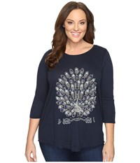 Lucky Brand Plus Size Embroidered Peacock Tee American Navy Women's T Shirt