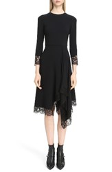 Givenchy Women's Lace Trim Stretch Cady Asymmetrical Dress Black