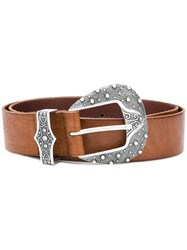 Orciani Western Buckle Belt Brown