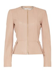Hugo Boss Sasoon Zip Thru Peplum Leather Jacket Beige