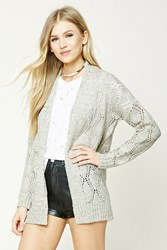 Forever 21 Open Knit Shawl Cardigan Grey