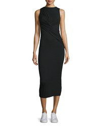 T By Alexander Wang Twist Front Stretch Jersey Midi Dress Black Size Medium