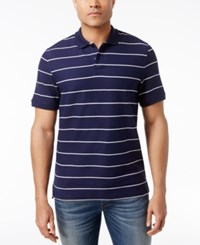 Club Room Men's Striped Pique Polo Only At Macy's Navy Blue
