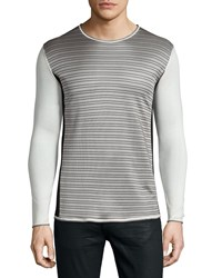 Cnc Costume National Long Sleeve Striped Front Sweater Beige Gray Black Beige Grey Black